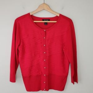 WHBM | Red Chiffon Layered Cardigan Sweater